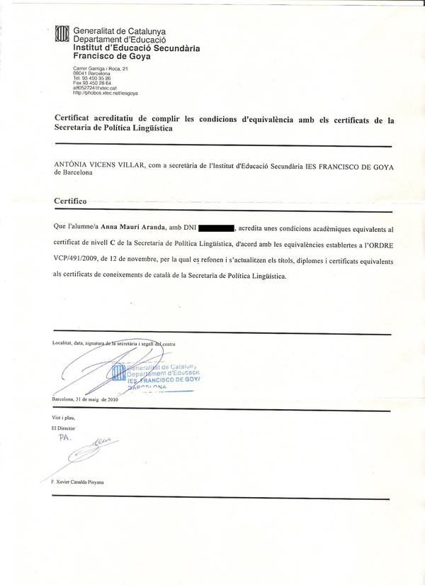 certificado acreditativo del nivel c de catalan